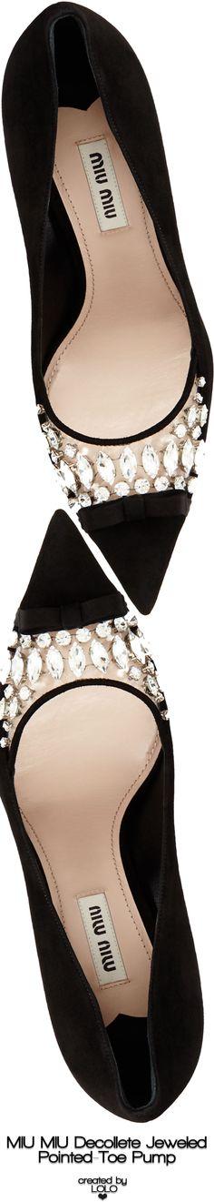Miu Miu Decollete Jeweled Pointed-Toe Pump | LOLO❤︎ #miumiushoes #jimmychooheelsmanoloblahnik