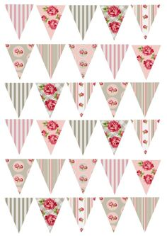 30 Shabby Chic Rose Bunting Pink & Grey Cake/Cupcake Rice Paper Toppers