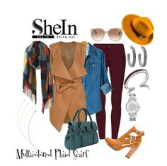 """""""Shein Multicolored Plaid Scarf"""" by tweedleduh ❤ liked on Polyvore featuring Joe's Jeans, Tom Ford, John Hardy, House of Harlow 1960, Michael Kors, Mademoiselle Slassi, women's clothing, women's fashion, women and female"""