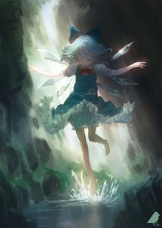 This is a nice sweet illustration of Cirno. I usually dont see too many of the Touhou characters set in scenery since it's always a focus on the character itself, so it's a nice change of pace. But that's probably because I dont really search these out too often to see all the variations. #notmyart https://plus.google.com/+warazashi/posts/N2jCncBt7gc