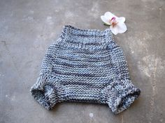 Diaper cover in gray merino wool, soft soaker, gray striped panties, bloomers - pinned by pin4etsy.com