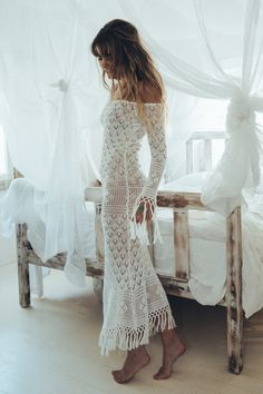 Christina Macpherson wears Spell Designs Leila Off The Shoulder Maxi Dress