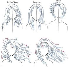 Here's a few good examples of how the different hair styles sit, see how they are totally different styles but the sit in a very similar way. I've also drawn examples of hair blowing in the wind for wavy/curly hair and straight hair. With wavy hair it will get messier than the straight but they will both have fly away strands of hair
