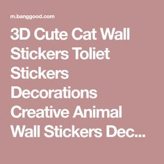 3D Cute Cat Wall Stickers Toliet Stickers Decorations Creative Animal Wall Stickers Decorate Your Home Like A Makeup Artist - Banggood Mobile