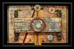 Raymond Papka. The Explorers V. Mixed media altered book, encaustic, paper, oil pigment, images, and found objects in floater frame 13.5 x 20.2 x 3.5
