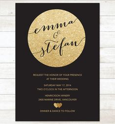 black and gold wedding invitation gold by pinkdahliaprintable