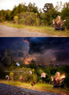 Senior said she wanted a picture with her Harry Potter books & wand. 5 hours later, this is the result.