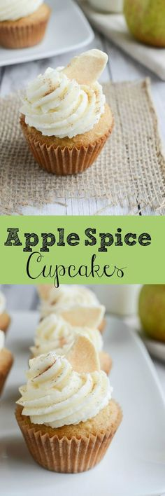 Apple Spice Cupcakes - yummy cupcakes topped with spiced vanilla frosting and cinnamon apple chips! Perfect fall cupcakes!