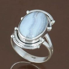 BLUE LACE AGATE 925 STERLING SILVER RING JEWELRY 6.32g DJR8702 SIZE-9 #Handmade #Ring
