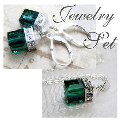 emerald jewelry | Emerald Green Jewelry Set, Swarovski Crystal Necklace Earrings, Silver ...
