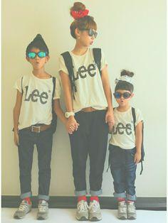 LeeのロゴTシャツはお揃いにとってもおすすめ♡ キッズサイズ...