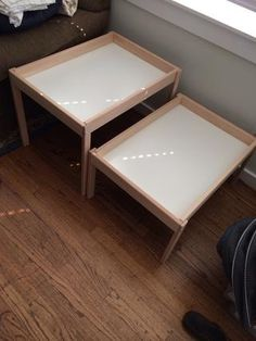 These could be used as train tables, Lego table, sensory table or outside as a sand table. Staple gun a shower curtain to one to use as a wa...