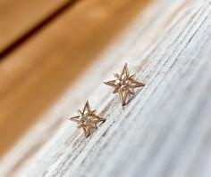 14 k oro diamante estrella del norte herretes de por LieselLove