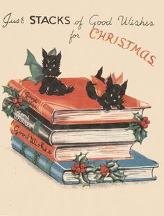 Vintage Christmas Card with Books and Kittens