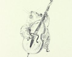 Original drawing Hamster singing illustration by ShirleyHarveyArt