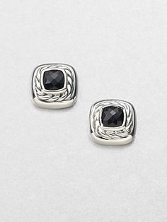 David+Yurman Black+Onyx+Sterling+Silver+Button+Earrings