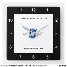 Modern Custom Business Logo Text Black White Square Wall Clock Company Names, Company Logo, How To Make Wall Clock, Business Logo, Create Your Own, Black And White, Modern, Business Names, Trendy Tree