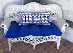 University of Kentucky 6 Piece Wicker Cushion with Embroidered Pillow Set. on Etsy, $250.00