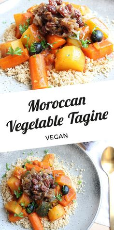 Moroccan vegetable tagine with couscous (vegan) Tajin Recipes, Raw Food Recipes, Vegetable Recipes, Vegetarian Recipes, Cooking Recipes, Healthy Recipes, Cheap Recipes, Tajine Vegan, Vegetarian Tagine