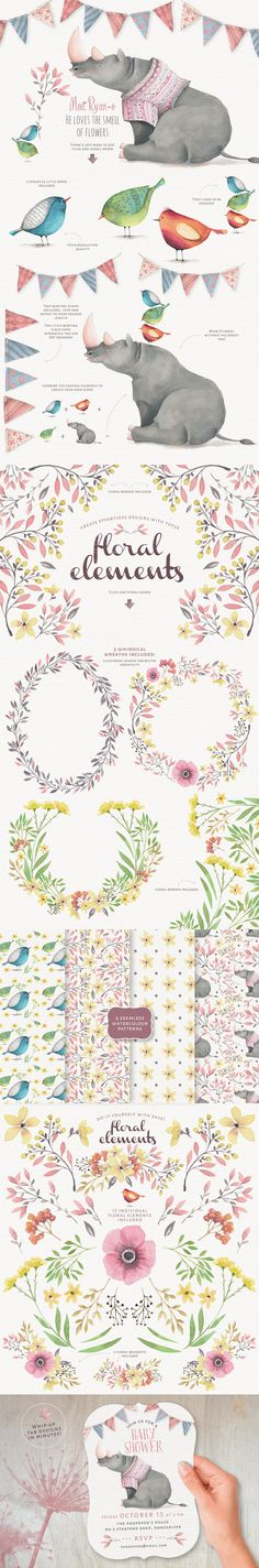 watercolour stock animal and floral pattern