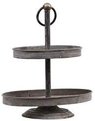 Creative Co Op Oval Metal 2 Tier Tray Zinc Amazon Co Uk Kitchen Home Tiered Tray Tiered Serving Stand Metal Decor