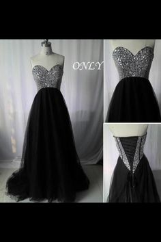 Black and glitter long prom dress