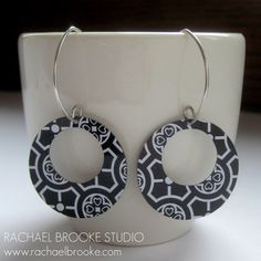 Black White & Bold Upcycled Tin Earrings by rachaelbrooke on Etsy, $40.00