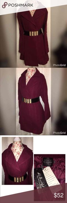 NEW! KD BEAUTIFUL 100% WOOL COAT/BELT SZ 3X BRAND NEW!! KD BEAUTIFUL BURGUNDY COAT WITH BELT IS GORGEOUS AND HAS A FLARED OUT BOTTOM AND IS 100% WOOL!!!THIS WOULD MAKE A LOVELY NEW YEARS GIFT FOR YOURSELF OR YOUR LOVED ONE! STICKER HAS PRICE TAG of $698!!! PRICED TO SELL!! THIS GORGEOUS COAT COMES WITH THE BELT PICTURED IN THE PHOTOS, OR SOMETHING EXTREMELY SIMILAR IN STYLE AND SIZE!! MESSAGE ME AND MAKE SURE I STILL HAVE BELT! WHICH I DO RIGHT NOW!! KD Beautiful Jackets & Coats Pea Coats