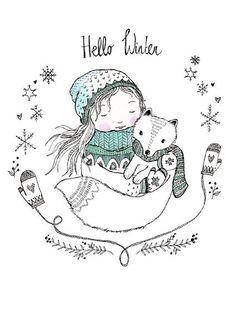 Marieke ten Berge ansichtkaart hello winter
