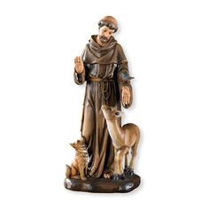 """Saint Francis is the patron saint of animals. He was known to be very connected to the earth and loved the birds. This Saint Francis statue is hand painted. Made of resin and measures at 8"""" tall."""