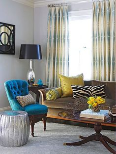 """Think of paint as a complementary background instead of what knocks you down upon entering a room. I want fabrics and furniture to be the stars and the wall color to quietly tie it all together. Save those bold colors for a small accent like the back of a built-in or for reviving an old accent chair."" -- Liz Levin, lizlevininteriors.com"