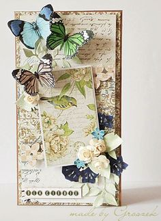 Butterfly Shabby Chic handmade card by Groszek #madebygroszek #handmadecard #butterflycard #shabbychic