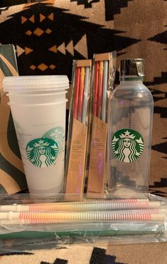 Starbucks bundle!  All brand new and unused! Included: (3) frosted reusable venti cold cups, straws and lids included (1) reusable water bottle (6) rainbow straws  (2) 3-pack multi-colored venti straws  *All sales final* *I ship Wednesdays*