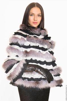 Купить Роскошное дизайнерское меховое манто - комбинированный, меховое манто, манто из чернобурки