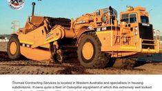 The Caterpillar elevating scraper: an overview by Richard Campbell The Caterpillar was designed specifically to take on Wabco in the large cubi. Earth Moving Equipment, Caterpillar Equipment, Heavy Equipment, Western Australia, Fiat, Cuba, Tractors, Michigan, Monster Trucks