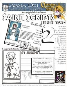 TWO new comprehensive SAINT craft kits. Both kits include 21 full color Saint recipe cards with bio and stats, plus 23 black and white templates to fill out as a research project. Saint pics compliments of 15 year old Kelly!