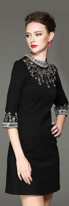 Black Beading Stand Collar A Line Short Dress