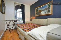 Guest room (sofa convered into queen size bed) Curtain Inspiration, Brooklyn Heights, Private Room, Queen Size Bedding, Two Bedroom, Guest Room, Sofa, Curtains, Flooring
