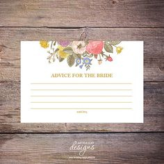Bridal Shower ADVICE Card INSTANT DOWNLOAD by LarissaKayDesigns