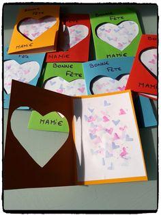 cartes coeur pour la fete des mamies, carte à offrir, bricolage enfant