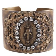 How Beautiful! I really, REALLY would like one of these!! | Miraculous Medal Swarovski Crystals Cuff Bracelet | The Catholic Company