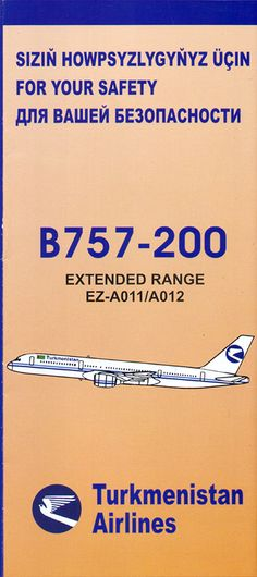 Safety Card  Turkmenistan Airlines B757-200 (2) front