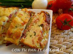 Pudin de pan, bacon y queso