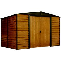 Arrow (Common: x Interior Dimensions: x Woodridge Galvanized Steel Storage Shed at Lowe's. Get the realistic look of wood with the wood-grain finish on the Woodridge storage building. The Woodridge's tall walls gives you easy access to all Steel Storage Sheds, Steel Sheds, Outdoor Storage Sheds, Shed Storage, Built In Storage, Tool Storage, Diy Storage, Home Depot, Metal Storage Buildings