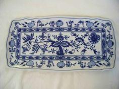 Original Bohemia Zwiebelmuster Blue Onion Danube Rectangular Cake Plate Czeck