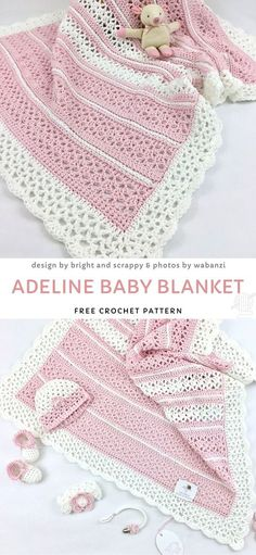 Baby blankets (blankets in general) are one of the most popular items to crochet, did you know that? They are just perfect for a baby - they are made with delicate yarn, so they won& irritate the delicate baby skin, breathable and warm at the s Crochet Blanket Patterns, Baby Blanket Crochet, Baby Patterns, Crochet Stitches, Knit Crochet, Crochet Hats, Booties Crochet, Crochet Afghans, Baby Booties