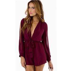 Tobi Romper Maroon romper with v neck and side slit sleeves. Great condition! Size large - I'd say fits M/L - color in true in first photo! Tobi Dresses