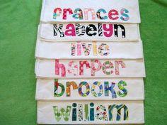 burp cloths with applique names