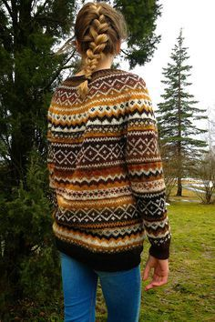 Fair Isle Natural wool sweater Made to order Thank You for visiting my shop! Multicolor Fair Isle sweater Design rights belong to adaLV - December 2012 Natural . Tejido Fair Isle, Punto Fair Isle, Sweater Knitting Patterns, Knit Patterns, Free Knitting, Sock Knitting, Vintage Knitting, Stitch Patterns, Fair Isle Knitting Patterns