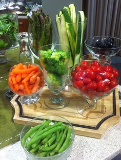 veggies in glasses - veggie platter taken to another level!